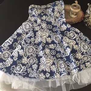 Navy blue and white strapless dress